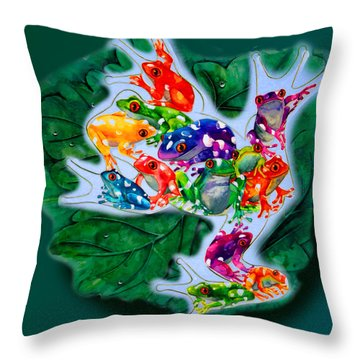 Frogs Throw Pillow by Sherry Shipley