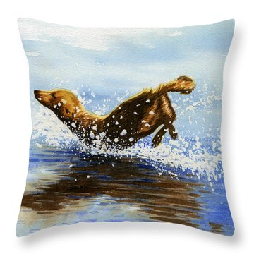 Frolicking Dog Throw Pillow