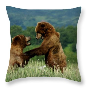 Frolicking Grizzly Bears Throw Pillow by Patricia Twardzik