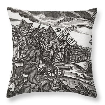 From A 17th Century German Satirical Pamphlet On Bad Women.  An Army Of Women Appear Throw Pillow