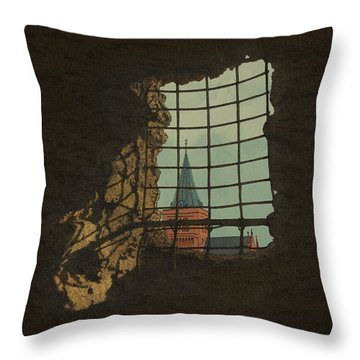 Throw Pillow featuring the drawing From A Castle by Meg Shearer