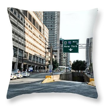 From Boston To New York Throw Pillow