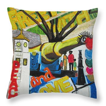 From Freetown With Peace And Love Throw Pillow by Mudiama Kammoh