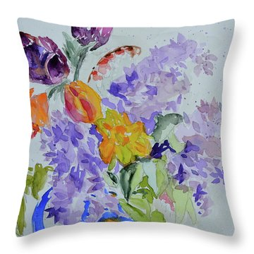 Throw Pillow featuring the painting From Grammy's Garden by Beverley Harper Tinsley