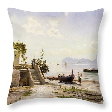 From Sorrento Towards Capri Throw Pillow by Peder Monsted
