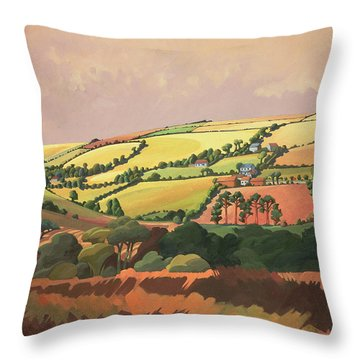 From The Train, South Devon, No.1 Oil On Canvas Throw Pillow
