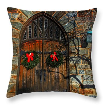 Front Door To Baldwin Memorial United Methodis Throw Pillow by Andy Lawless