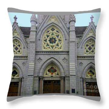 Throw Pillow featuring the photograph Front Of Church by Gena Weiser