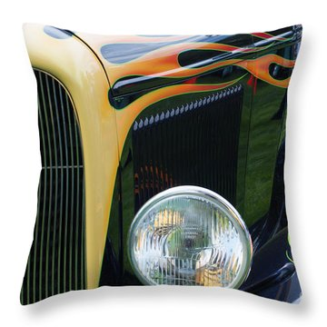 Throw Pillow featuring the photograph Front Of Hot Rod Car by Gunter Nezhoda