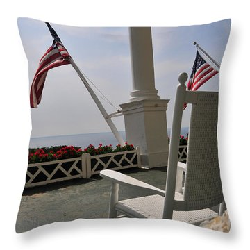 Front Porch II Grand Hotel On Mackinac Island Throw Pillow