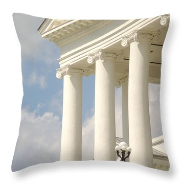 Throw Pillow featuring the photograph Front Porch Of Virginia State Capitol Richmond Va by Suzanne Powers