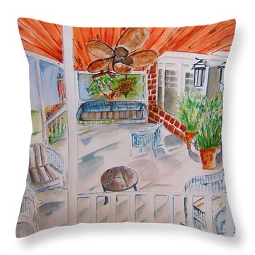 Front Porch Sitting Throw Pillow by Elaine Duras