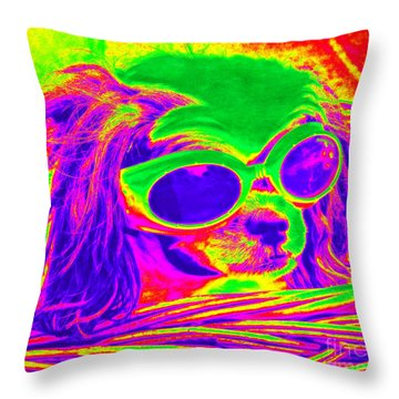 Front Seat Driver Pop Art - Puppy Mania Throw Pillow