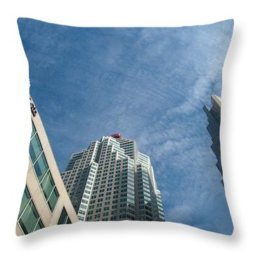 Front Stree Down Town Toronto Sky View Through The Hotels Skyscraper Condo  Housing Buildings Water  Throw Pillow by Navin Joshi