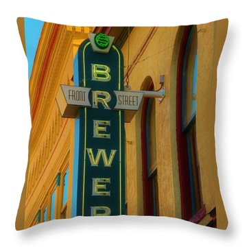 Front Street Brewery Throw Pillow by Bob Sample