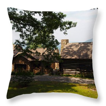 Front View Of The Cabin Throw Pillow by Robert Margetts