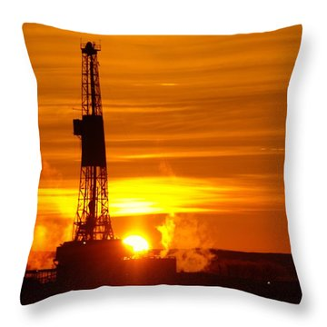 Frontier Nineteen Xto Energy Culbertson Montana Throw Pillow by Jeff Swan