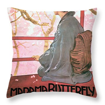 Frontispiece Of The Score Sheet For Madame Butterfly By Giacomo Puccini 1858-1924 Colour Litho See Throw Pillow
