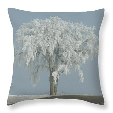 Frost Covered Lone Tree Throw Pillow