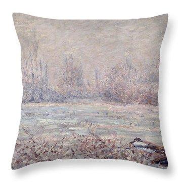 Frost Near Vetheuil Throw Pillow