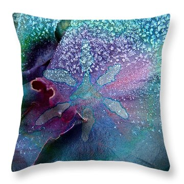 Frost On Turquoise Throw Pillow by Shirley Sirois