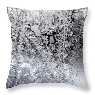 Frost Windowpane In Maine Number One Throw Pillow by Patricia E Sundik