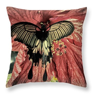 Frosted Black On Red Throw Pillow