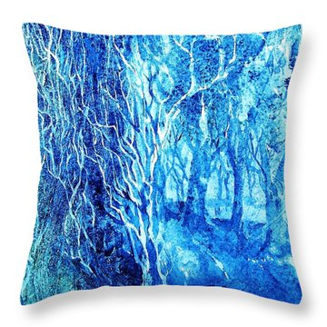 Throw Pillow featuring the painting Frosted Forest  by Trudi Doyle