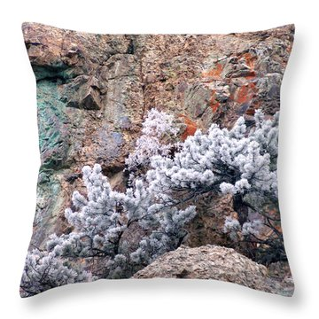Frosted Trees Throw Pillow