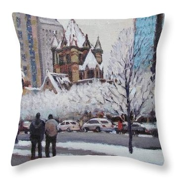 Frosted Trinity Throw Pillow by Dianne Panarelli Miller