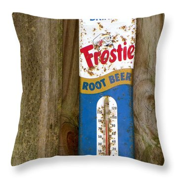 Throw Pillow featuring the photograph Frostie Root Beer  by Joy Hardee