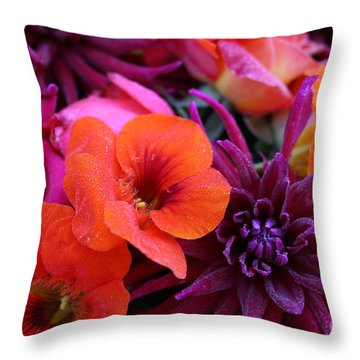 Dewy Blooms Throw Pillow
