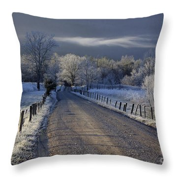 Frosty Cades Cove Hdr Throw Pillow by Douglas Stucky