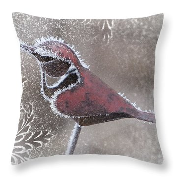Frosty Cardinal Throw Pillow by Patti Deters