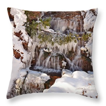 Frosty Cascades Throw Pillow
