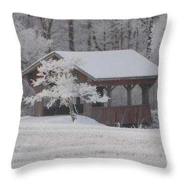 Frosty Day Bridge Throw Pillow