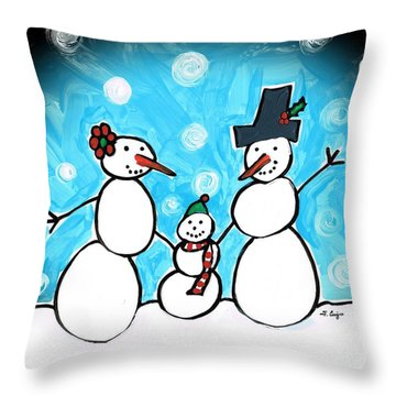 Frosty Family 1 Merry Christmas By Sharon Cummings Throw Pillow