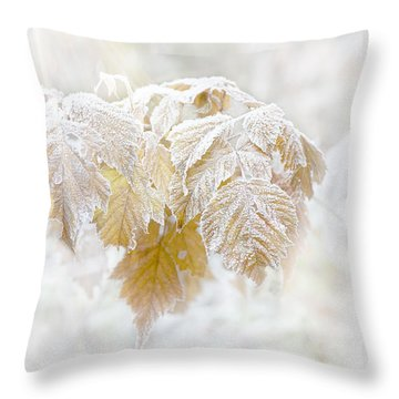 Frosty Leaves Throw Pillow