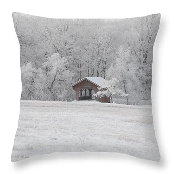 Frosty Morning Covered Bridge Throw Pillow