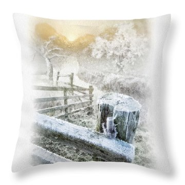 Frosty Morning Throw Pillow by Mo T