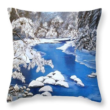 Throw Pillow featuring the painting Frosty Morning by Sharon Duguay