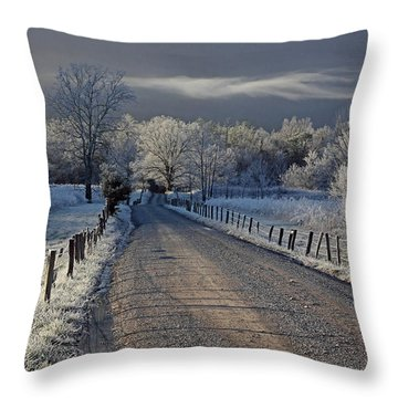 Frosty Sparks Lane Throw Pillow by Douglas Stucky