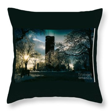 Frosty Sunrise At Tower Park Throw Pillow