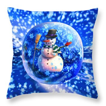 Throw Pillow featuring the painting Frosty The Snowglobe by Robin Moline