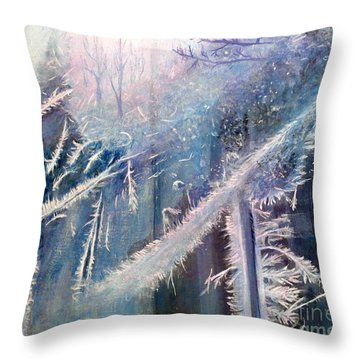 Frosty Window Dressing Throw Pillow