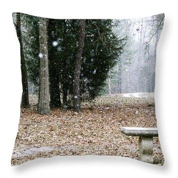 Frozen Bench Throw Pillow