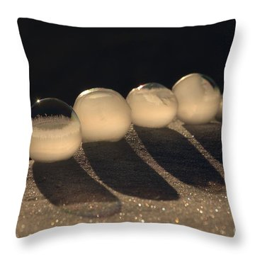 Frozen Bubbles Throw Pillow by Kenny Glotfelty