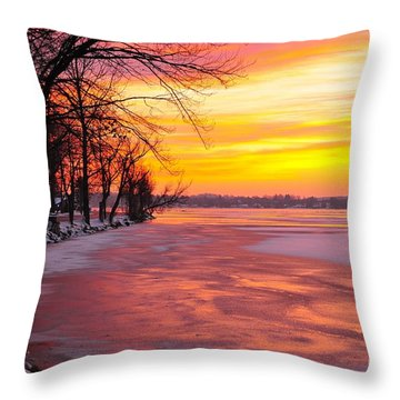 Throw Pillow featuring the photograph Frozen Dawn At Lake Cadillac  by Terri Gostola