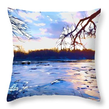 Frozen Delaware River Sunset Throw Pillow