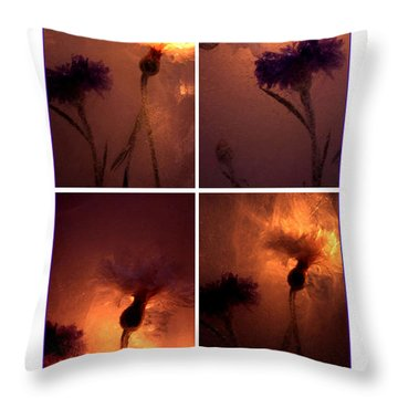 Throw Pillow featuring the photograph Frozen Flowers Collage by Randi Grace Nilsberg